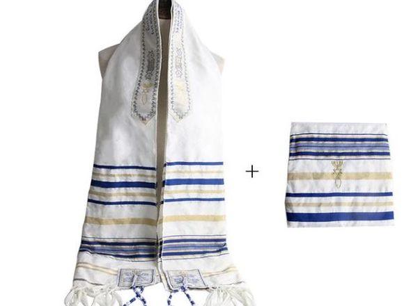 talit judio mesianico color azul con bolso nuevo