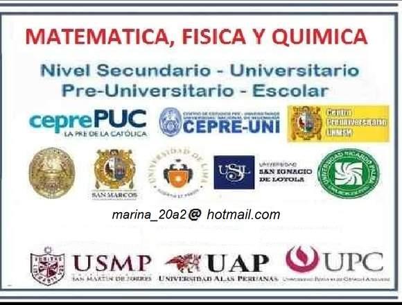 PROFESORA MATEMÁTICA  ESCOL/PRE/UNIVER A DOMICILIO