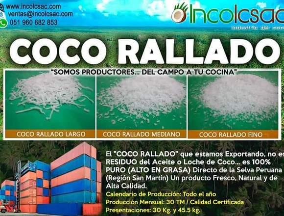 COCO RALLADO DESHIDRATADO (LARGO, MEDIANO Y FINO)