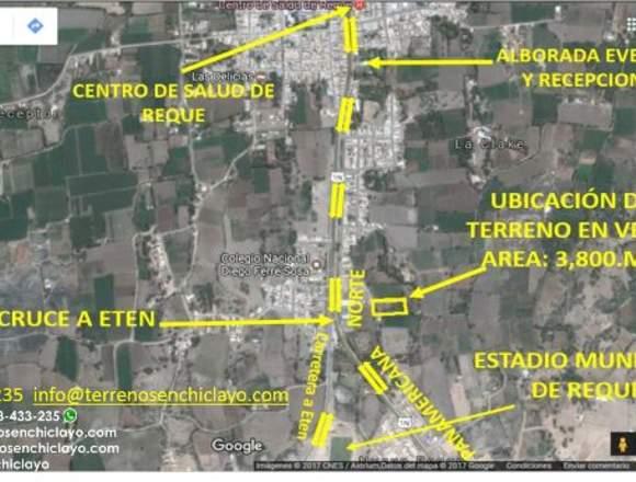 Terreno de 3800 m2 Ideal para casa,Reque, Chiclayo