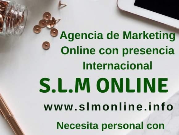 Marketing Online necesita persona con conocimiento
