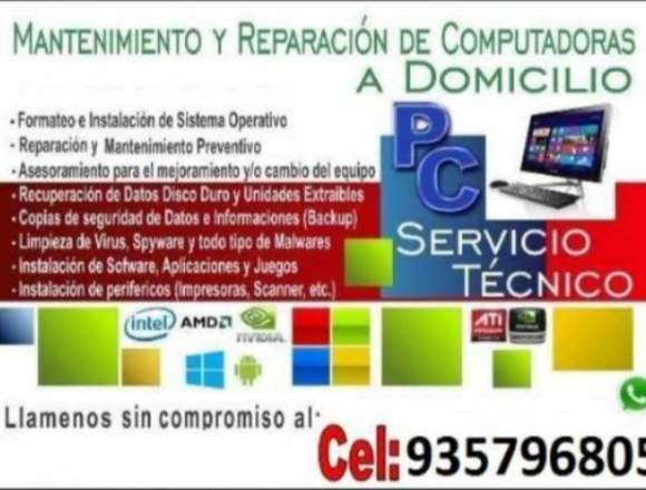 Mantenimiento y formateos en notebook,netbook, PC