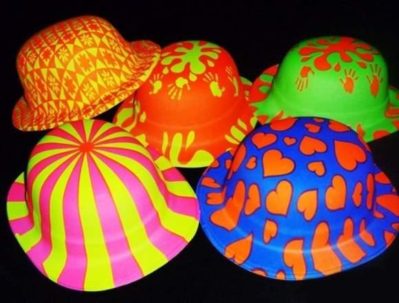 12 X Sombreros Neón Brillan Con Luz Uv Fiesta