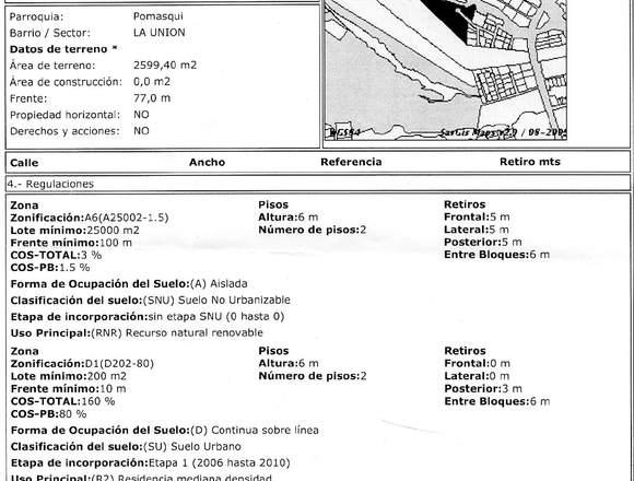 Terreno en Pomasqui 2600 m2