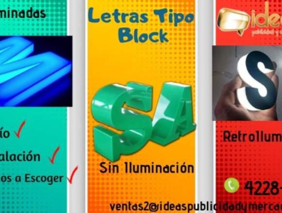 Letras Tipo Block o relieve