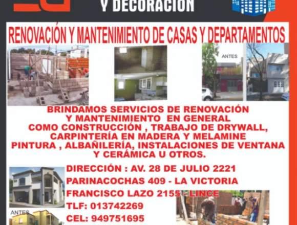 RENOVACION Y MANTENIMIENTO DE CASAS