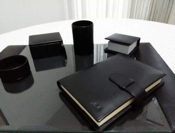 Set de escritorio en cuero genuino