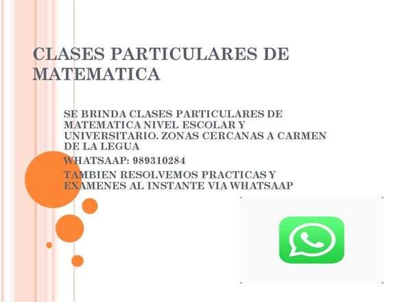 CLASES PARTICULARES DE MATEMATICA TODO NIVEL