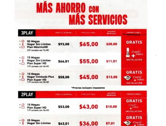 SE OFERTA SERVICIO DE INTERNET, TELEFONÍA Y TV