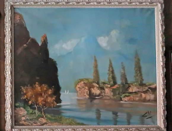 Un cuadro de paisaje al óleo