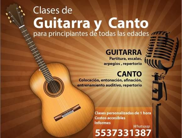 CLASES DE CANTO Y/O GUITARRA PARA PRINCIPIANTES