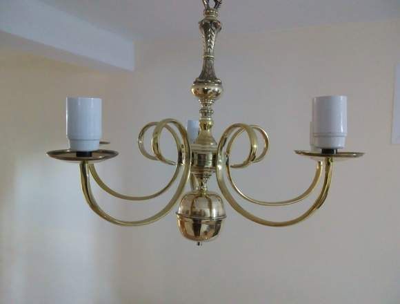 Candelabro antiguo de bronce 5 luces funcionando