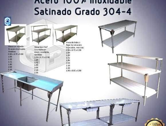 Mesas de Acero Inoxidable Grado 304-4 Satinado