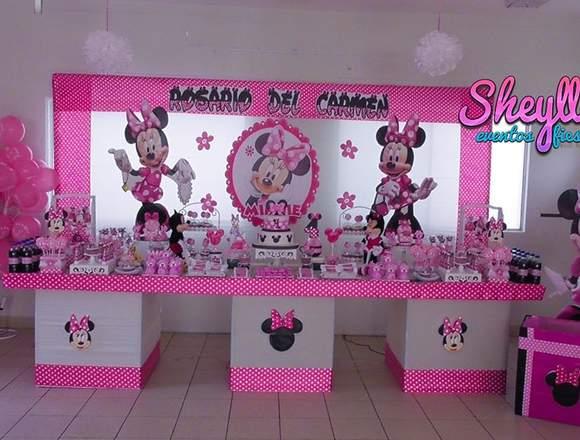 Decoración de Minnie mouse, minnie coqueta, rosada
