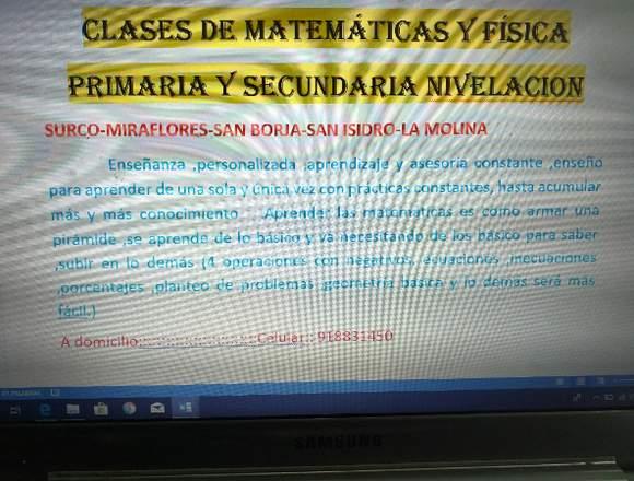 Clases matemáticas y fisica nivelación escolar