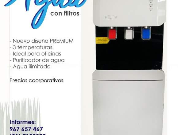 Dispensador de agua con filtros purificadores