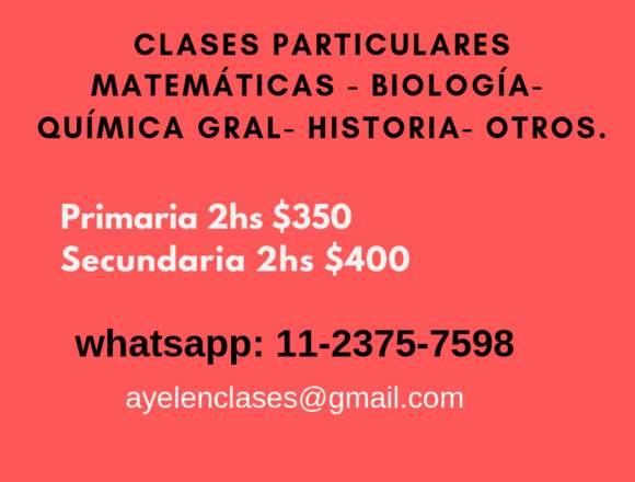 Clases para primaria y secundaria Matemáticas