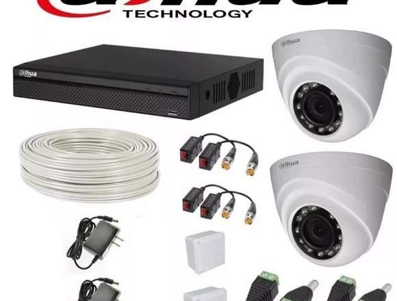 KIT DAHUA HD CCTV DVR 4C + 2 CAMARAS DE SEGURIDAD