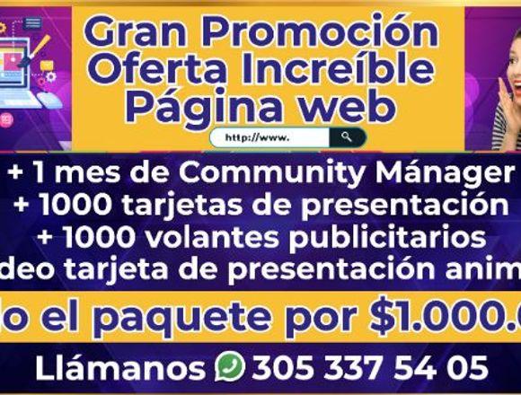 Página Web Social Media $1.000.000