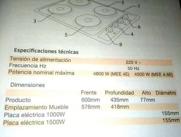 VENTA COCINA ELECTRICA ENCIMERA MADEMSA 4 PLATOS.