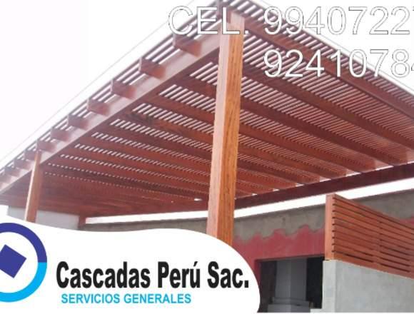 sol y sombra de madera en terrazas,piletas,techos,