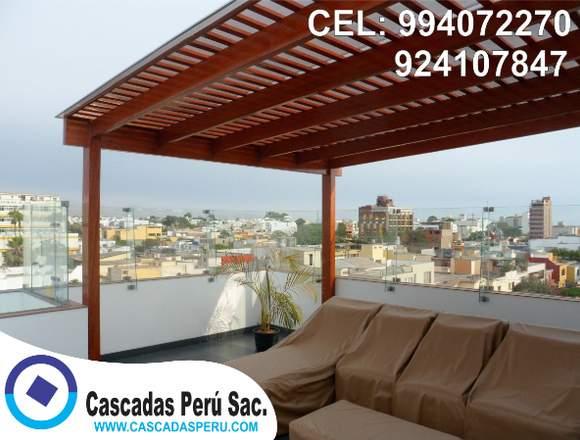 techos sol y sombra de madera, aluminio