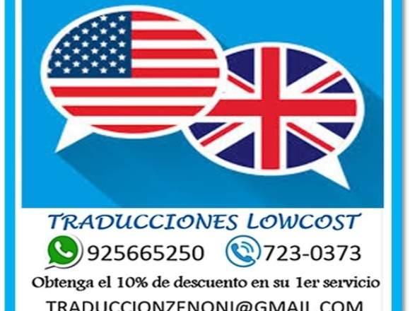 TRADUCCIONES DE INGLES A ESPAÑOL