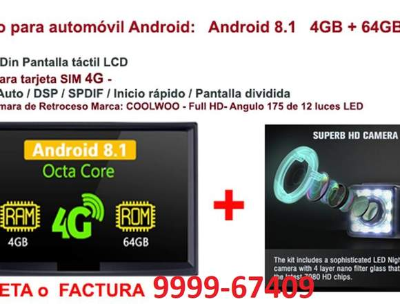 "Autoradio :Android 8.1 4GB + 64GB 7 ""Doble Din ,4G"