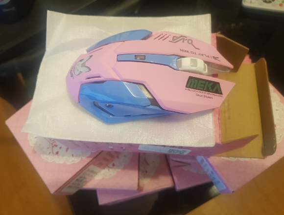 Mouse Gamer inalámbrico Recargable Color Rosa