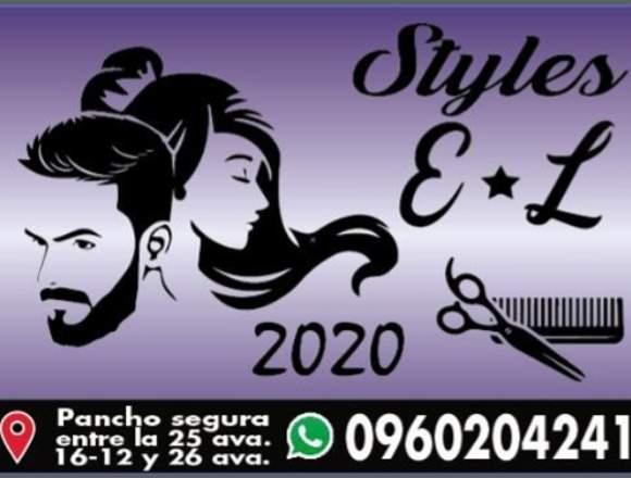 Chica estilista y joven barbero