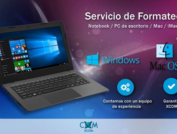 SERVICIO FORMATEO Notebook / PC Escritorio / Mac