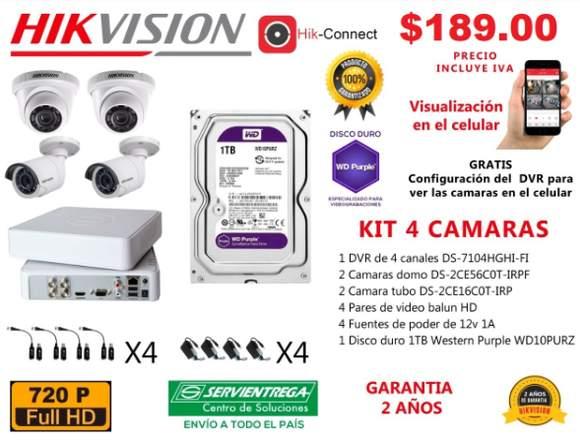 KIT 4 CAMARAS CCTV 720P. HIKVISION 0983080310.