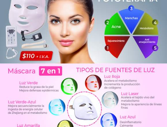 Mascara Led Fototerapia Anti Envejecimiento Acne