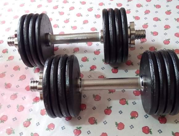 Mancuernas o pesas de metal solido 18 kilos total