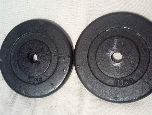 barra z y dos discos de 10 kg c/u metal solido