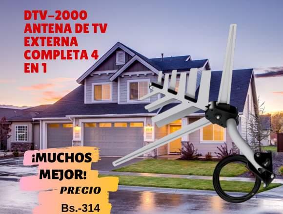 DTV-2000 ANTENA DE TV EXTERNA COMPLETA 4 EN 1