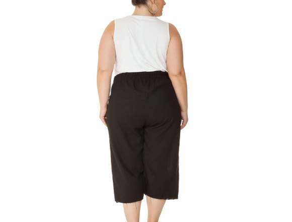 Calça Plus Size Pantacourt Preto Miss Masy Plus