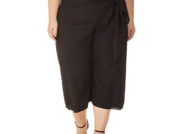 Calça Plus Size Pantacourt Preto Miss Masy Plus