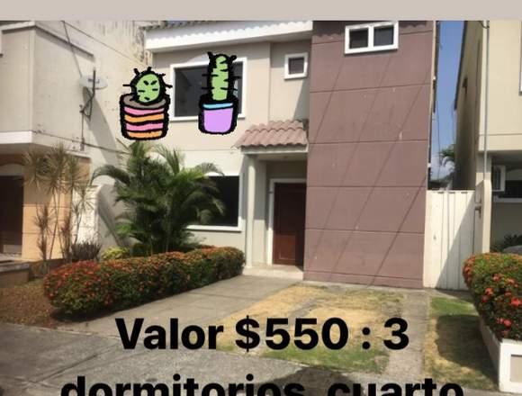 ALQUILO CASA 3 DORMITORIOS VIA SAMBORONDON
