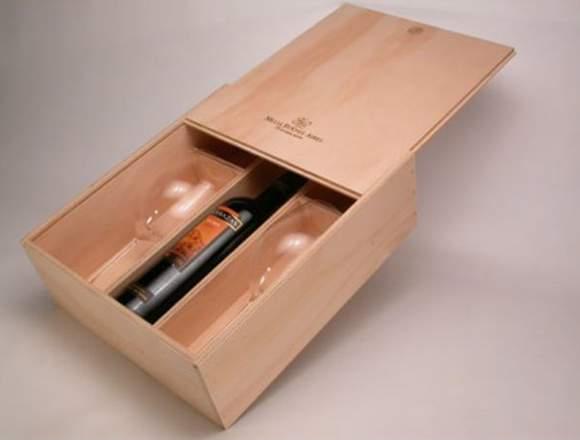 cajas de madera para regalo, botellas,  etc.