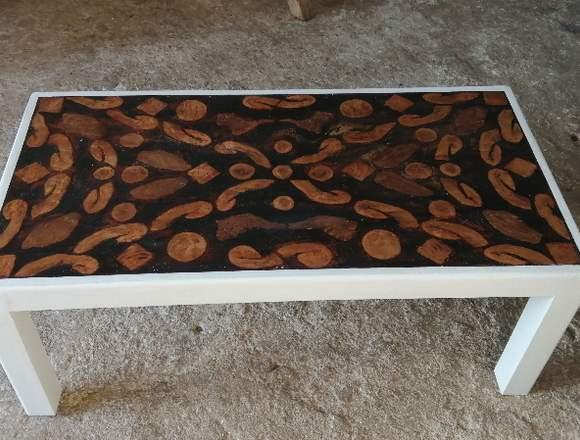 mesa de salon con fantasia de raices