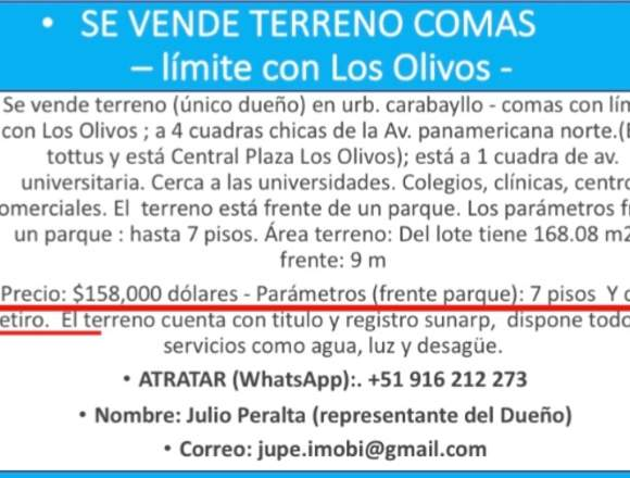 VENTA DE TERRENO COMAS (Limite de Los Olivos)