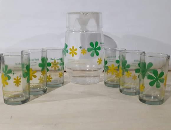 Jarra De Vidrio Y 6 Vasos