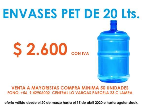 se venden envases pet para agua de 20 litros
