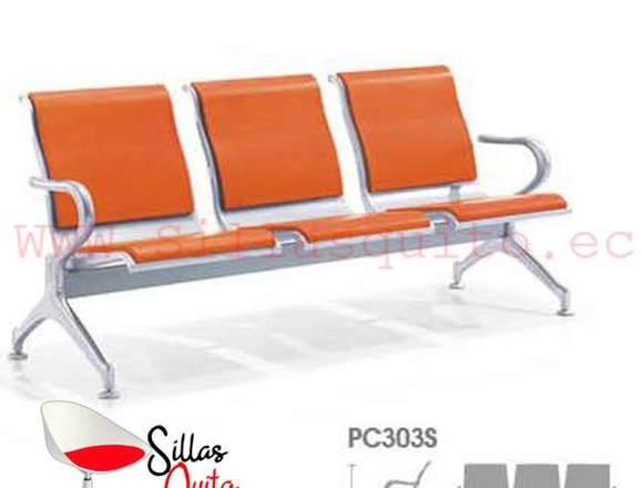 silla espera metalico tamdem 2 plazas