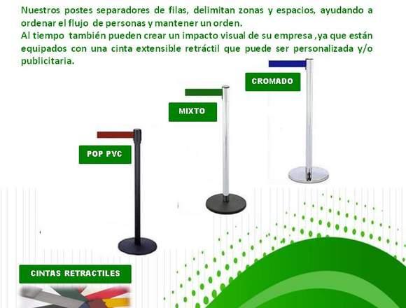 SEPARADOR DE FILAS CON CINTA RETRACTIL/MAXSOTEC