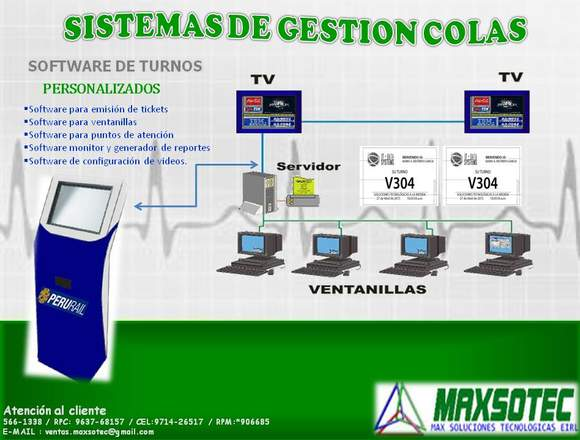 SISTEMA DE COLAS C/SOFTWARE/TOUCH DIGITAL/MAXSOTEC