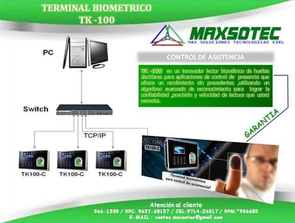 RELOJ CONTROL DE ASISTENCIA TK-100 Y H8/MAXSOTEC