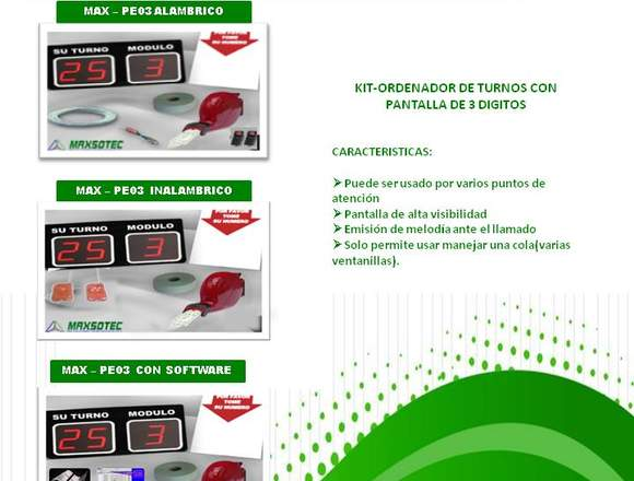 TURNOMATICOS PARA COLAS/MAXSOTEC