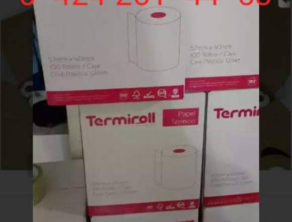 Papel Térmico 57x40 y 80x65 para punto y PARLEY